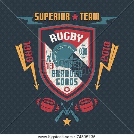 College Sport Emblem Rugby Team Single