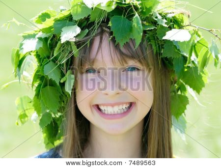 Girl Wearing Wreath