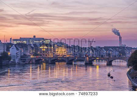 Mittlere Bridge Over Rhine And City Skyline At Sunset, Basel