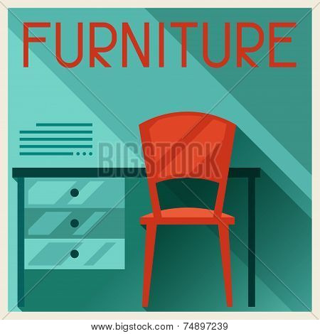 Interior illustration with furniture in retro style.