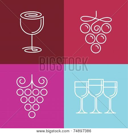 Vector Wine Line Icons And Logos