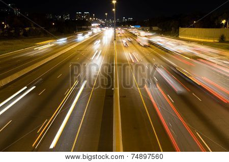 Short Light Trails On A Highway