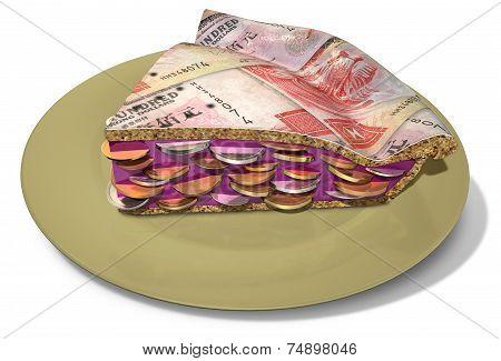 Slice Of Hong Kong Dollar Money Pie