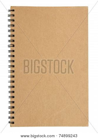 Brown Notebook Cover Isolated On White Background With Clipping Path