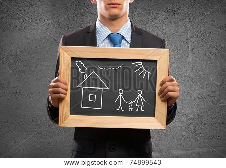 Businessman with frame