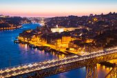 pic of dom  - Porto Cityscape Portugal at dusk with Dom Luiz bridge - JPG