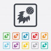 foto of fireball  - Volleyball fireball sign icon - JPG