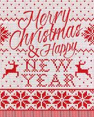 picture of scandinavian  - Merry Christmas and happy new year Scandinavian style seamless knitted - JPG