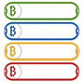 picture of bit coin  - four frames for entering text with screws and bit coin - JPG