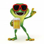stock photo of glass frog  - 3d render cartoon of  frog with a beer - JPG