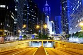 image of hong kong bridge  - Modern city traffic night - JPG