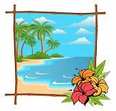 Постер, плакат: Дерево пальмы в бамбуковых кадр
