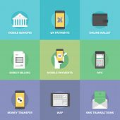 foto of internet-banking  - Flat icons set of mobile payments and internet purchasing direct money transfer online banking on smartphone near field communication service - JPG