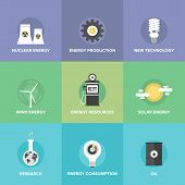 Постер, плакат: World Energy Resources Flat Icons Set