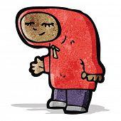 stock photo of hooded sweatshirt  - cartoon teenager in hooded sweatshirt - JPG