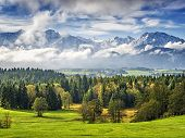 picture of bavaria  - Landscape in Allgau Bavaria with mountains and meadows - JPG