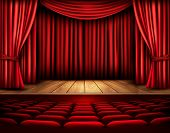pic of cinema auditorium  - Cinema or theater scene with a curtain - JPG