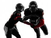 picture of football  - two american football players passing play action in silhouette shadow on white background - JPG