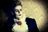 picture of dracula  - Portrait of a handsome male vampire over vintage background - JPG