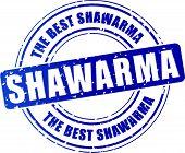pic of shawarma  - illustration of blue shawarma stamp on white background - JPG