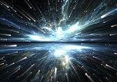 foto of big-bang  - Time warp traveling in space with stars - JPG