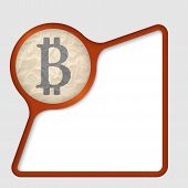 stock photo of bit coin  - abstract frame with texture of crumpled paper and bit coin symbol - JPG