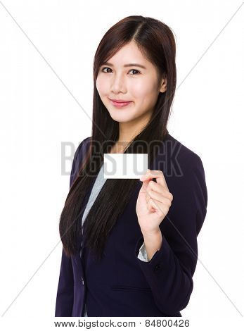 Asian businesswoman show with businesscard