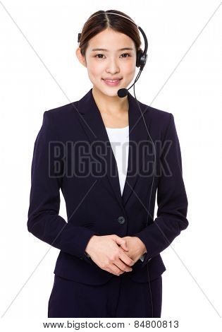 Customer services representative with headset