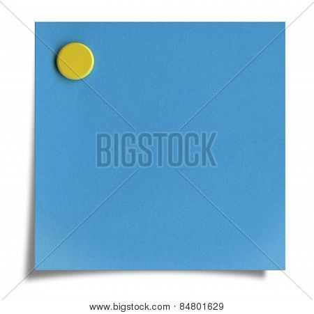 Blue Post-it Note With Yellow Push Pin, Isolated On White. Clipping Path.