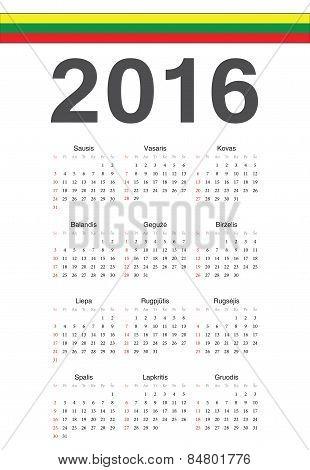 Lithuanian 2016 Year Vector Calendar
