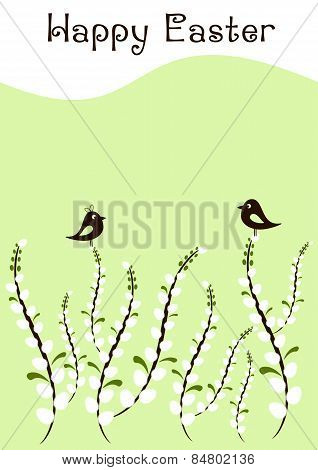 Greeting Card For Easter With Branches Of Willow And Little Birds