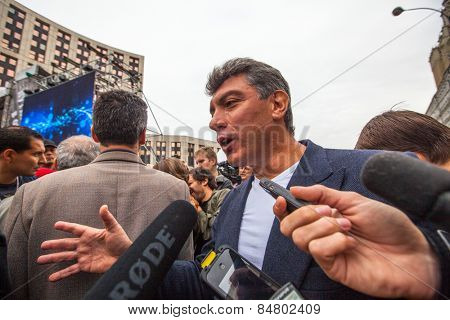 MOSCOW - SEP 15, 2012: Boris Nemtsov - russian statesman, one of the leaders of opposition during anti-Putin protest. Boris Nemtsov was killed in the night of Feb 28, 2015 in center of Moscow.