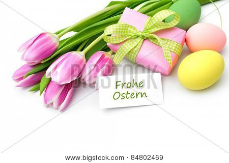 Tulips with tag and german text for Easter
