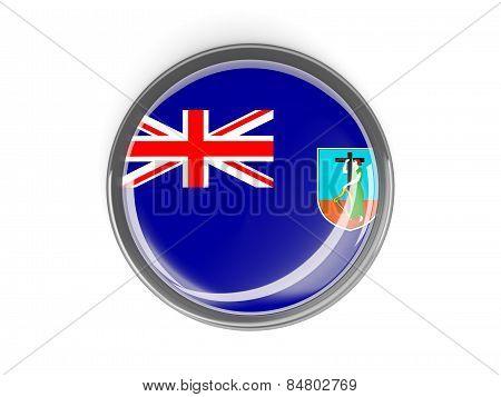 Round Button With Flag Of Montserrat