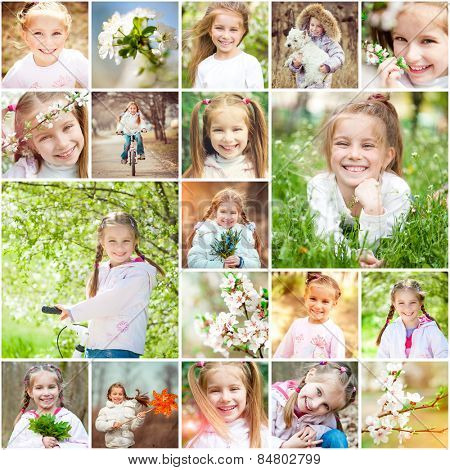 Photo collage of a cheerful girl rejoices spring, warmth and flowers