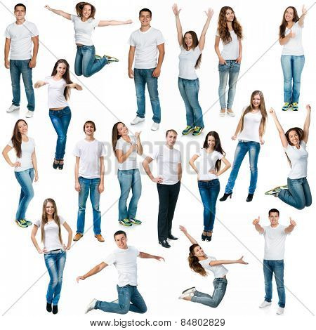 Collage of photos of men and women in jeans and T-shirts on a white background