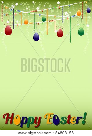 Festive Green Background For Easter With Colored Eggs On Garland
