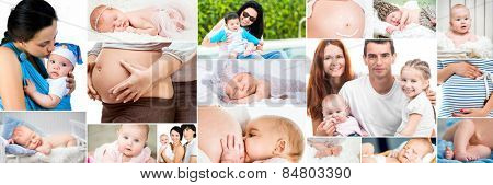 Collage of photos pregnancy, baby, kids, happy family