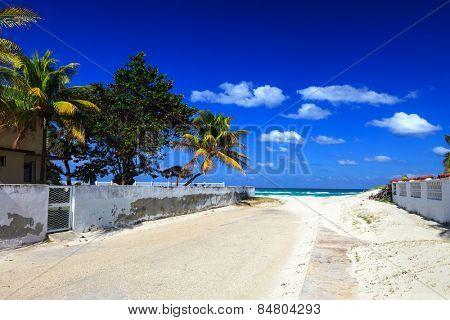 sandy road overlooking the beautiful sea