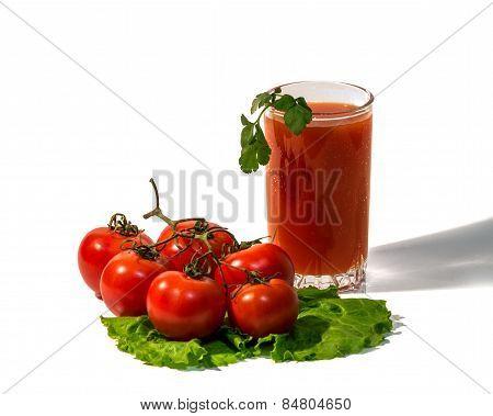 Tomatoes And Tomato Juice Isolated On White Background
