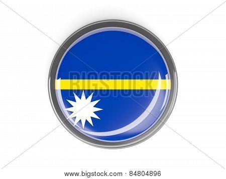 Round Button With Flag Of Nauru