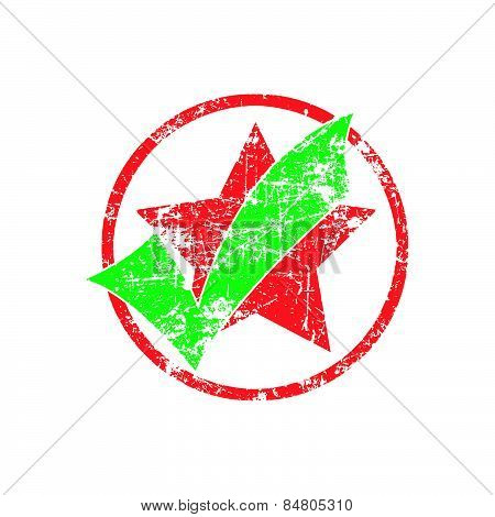 Green Check In Red Cycle With Star Grunge Rubber Stamp Vector Illustration
