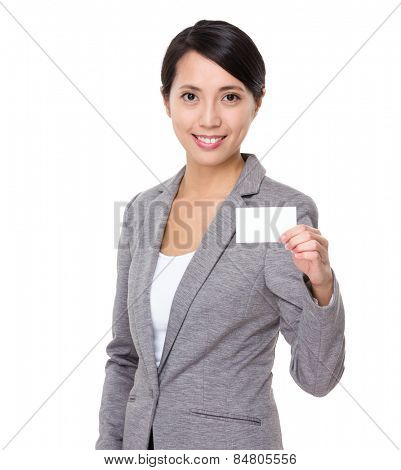 Businesswoman show with businesscard
