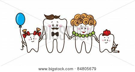 The family of the teeth on white background