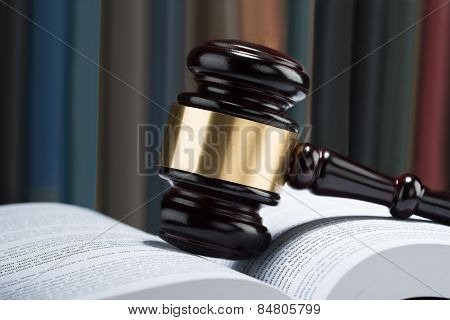Gavel With Stack Of Book