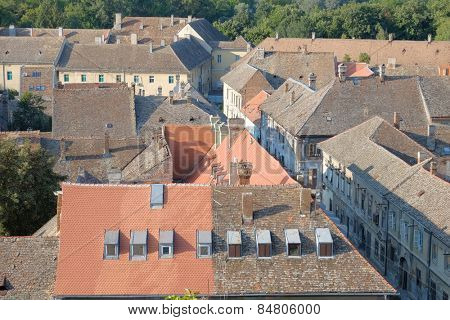 rooftops and chimneys of Petrovaradin Old Town, Serbia