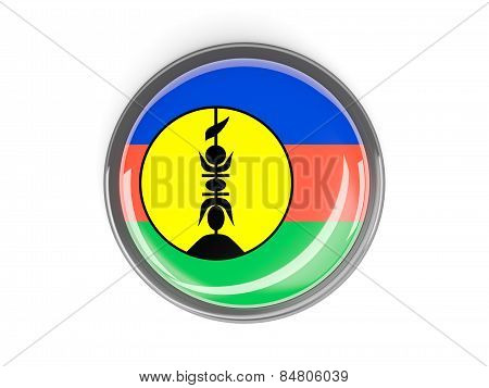 Round Button With Flag Of New Caledonia