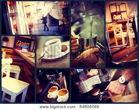 Image grid of atmospheric photos of a trendy urban cafe.