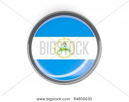 Round Button With Flag Of Nicaragua