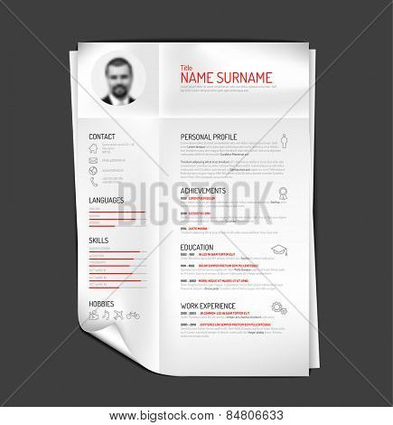 Vector original minimalist cv / resume template - creative version on folded paper